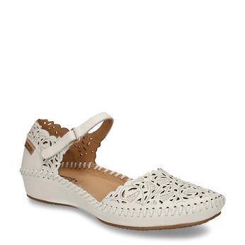 Béžové dámské kožené sandály s dekorativní perforací pikolinos, bílá, 524-1624 - 13