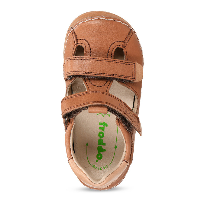 Hnědé dětské kožené sandály s uzavřenou špičkou froddo, hnědá, 164-4604 - 17