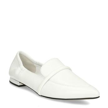 Bílé kožené dámské mokasíny do špičky hogl, bílá, 514-1606 - 13