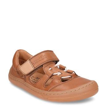 Hnědé dětské kožené sandály na suchý zip froddo, hnědá, 264-4610 - 13