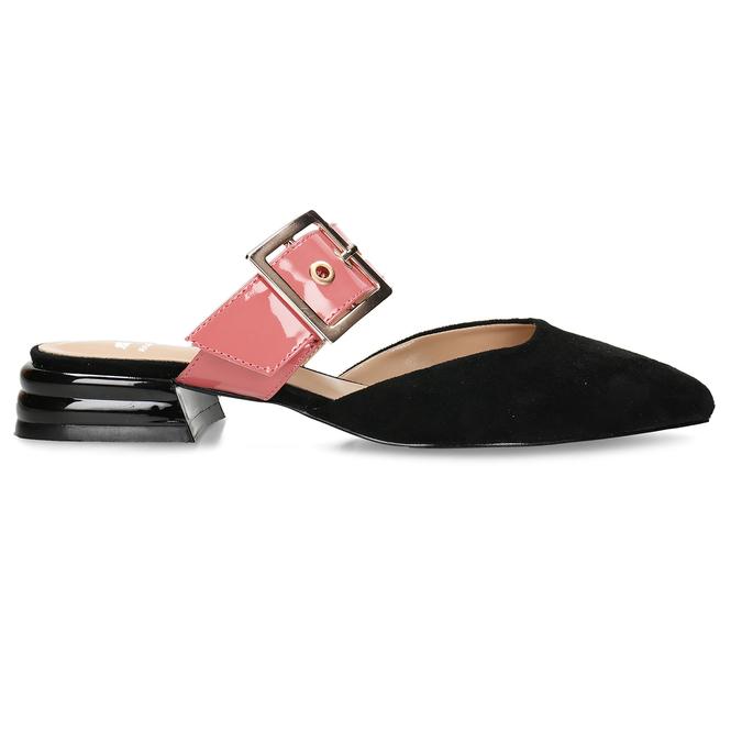 Černé dámské pantofle s růžovým páskem a koženou stélkou bata, růžová, 529-5608 - 19
