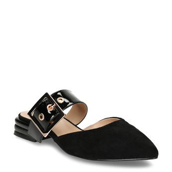 Černé dámské pantofle s koženou stélkou a kovovou přezkou bata, černá, 529-6608 - 13