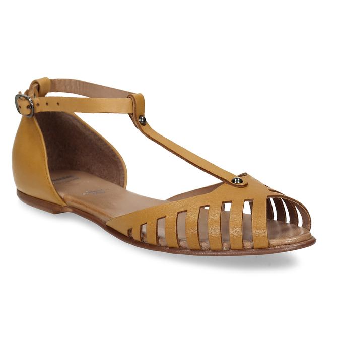 Hořčicové dámské kožené sandály bata, žlutá, 524-8610 - 13