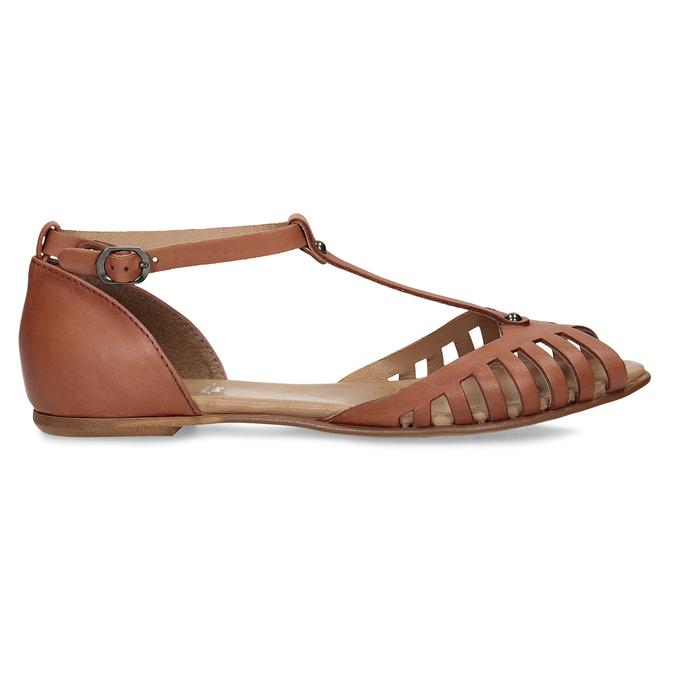 Terakotové dámské kožené sandály bata, hnědá, 524-5610 - 19