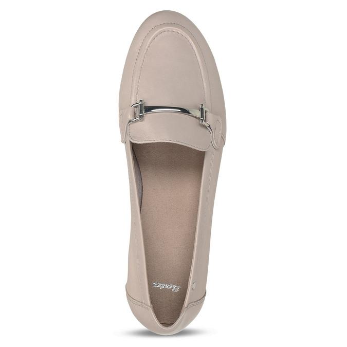 Béžové dámské kožené mokasíny bata, růžová, 514-8600 - 17