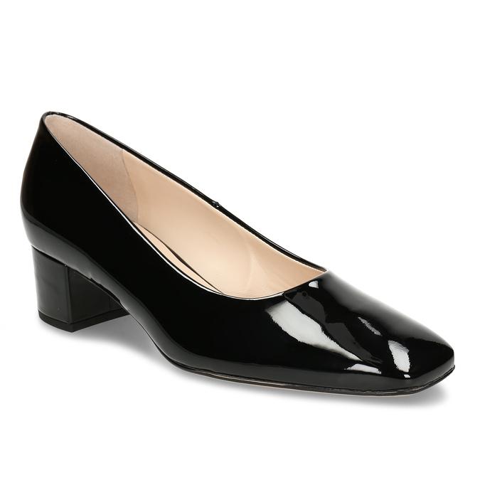 Černé kožené dámské lodičky hogl, černá, 624-6648 - 13