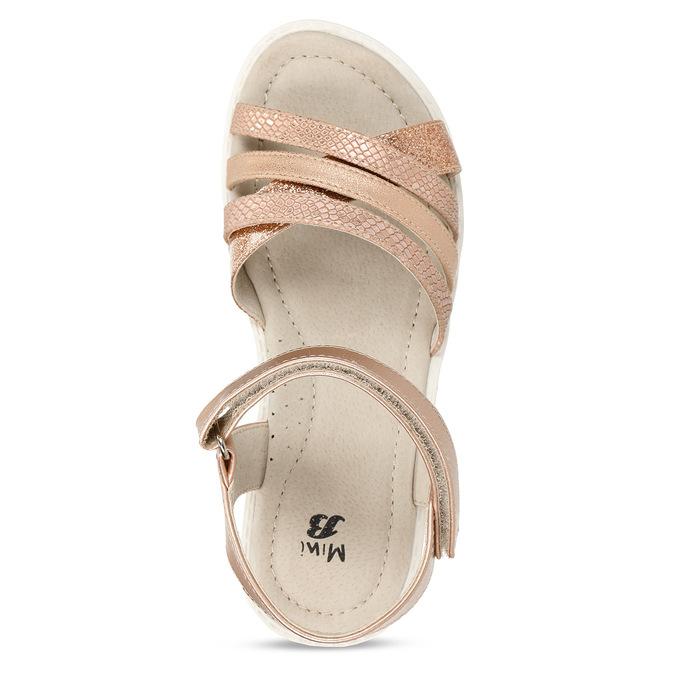 Zlaté dívčí sandály na suchý zip mini-b, zlatá, 321-8618 - 17