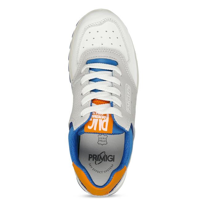 Bílošedé dětské tenisky modrými a oranžovými prvky primigi, bílá, 216-1600 - 17