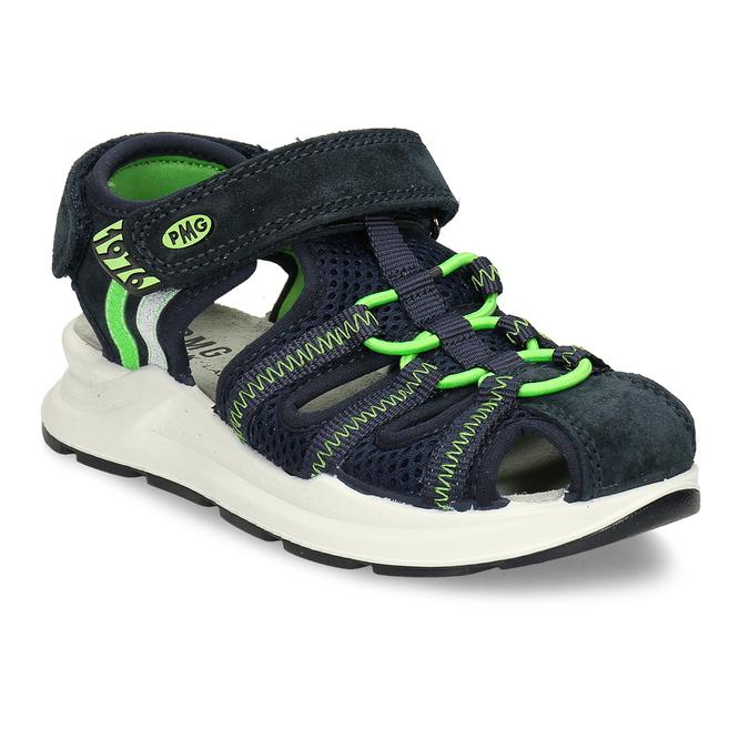 Modré dětské sandály se zelenými prvky a koženým svrškem primigi, modrá, 266-6609 - 13