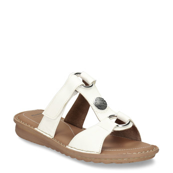 Bílé kožené dámské pantofle se stříbrnými aplikacemi comfit, bílá, 564-1620 - 13