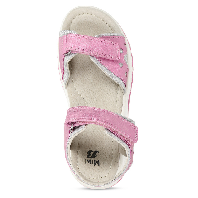 Růžové dívčí kožené sandály se srdcem na straně mini-b, růžová, 261-5616 - 17
