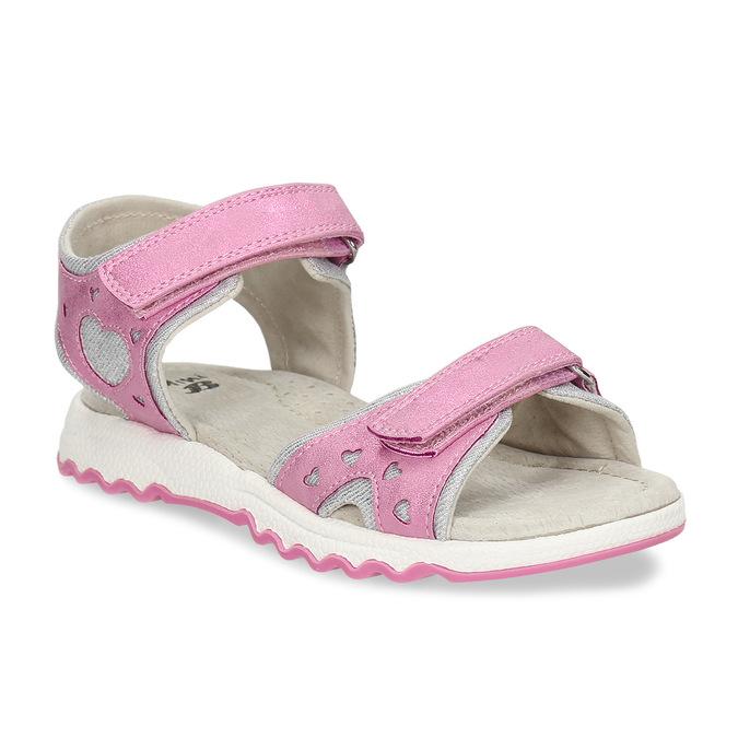 Růžové dívčí kožené sandály se srdcem na straně mini-b, růžová, 261-5616 - 13