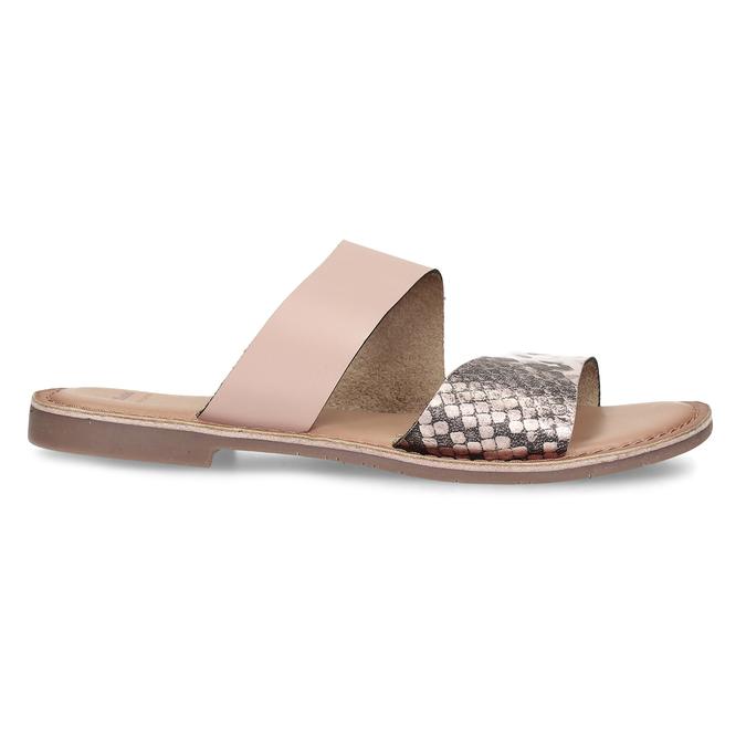 Růžové kožené dámské pantofle s hadím vzorem bata, růžová, 564-5620 - 19