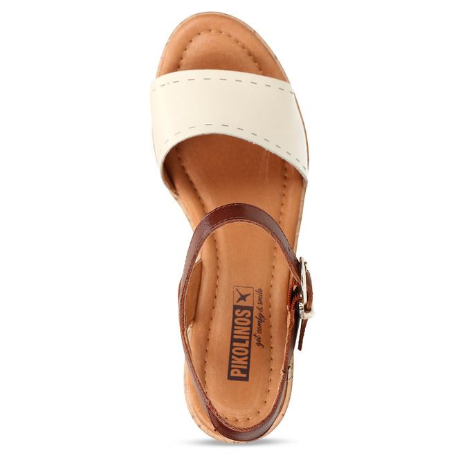 Bílo-hnědé dámské kožené sandály na klínovém podpatku pikolinos, bílá, 664-1620 - 17