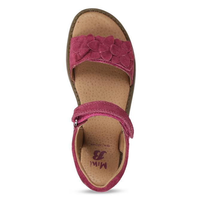 Tmavě růžové dětské kožené sandály mini-b, růžová, 366-5603 - 17