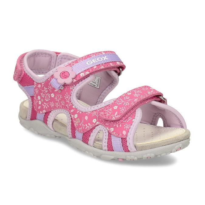 Růžové dětské sandály s květinovým potiskem geox, růžová, 369-5618 - 13