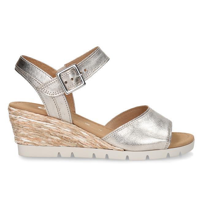 Stříbrné dámské kožené sandály na klínku gabor, zlatá, 666-8608 - 19