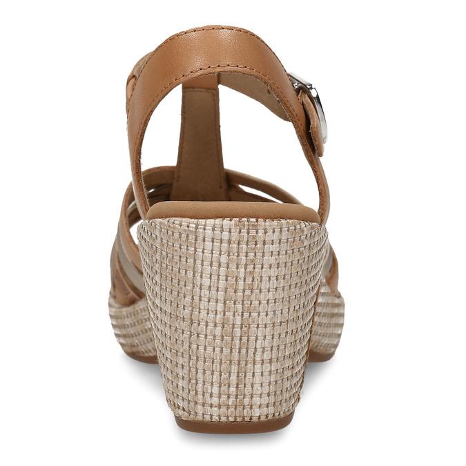 Hnědé dámské kožené sandály na podpatku gabor, hnědá, 666-0600 - 15