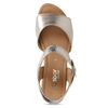 Stříbrné dámské kožené sandály na klínku gabor, zlatá, 666-8608 - 17