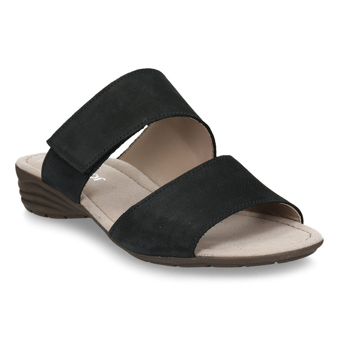 Černé dámské kožené pantofle gabor, modrá, 666-9602 - 13