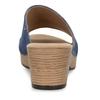 Modré dámské kožené pantofle na podpatku gabor, modrá, 663-9600 - 15