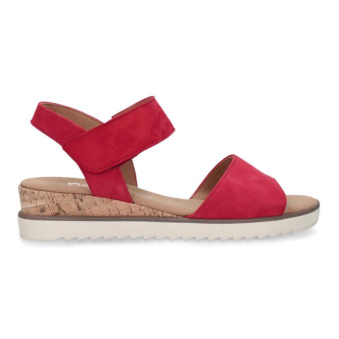 Červené dámské kožené sandály na nízkém klínku gabor, červená, 663-5600 - 19