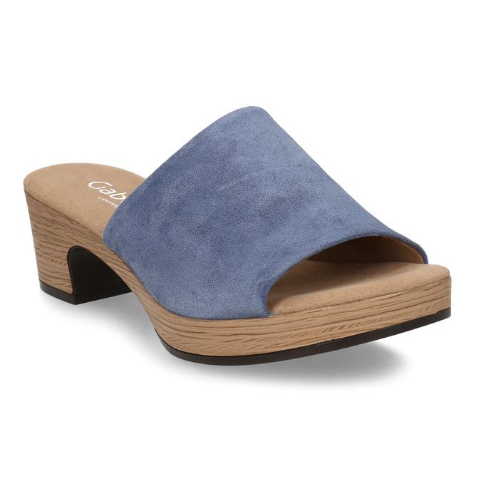 Modré dámské kožené pantofle na podpatku gabor, modrá, 663-9600 - 13
