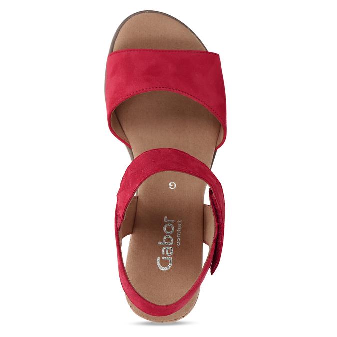 Červené dámské kožené sandály na nízkém klínku gabor, červená, 663-5600 - 17