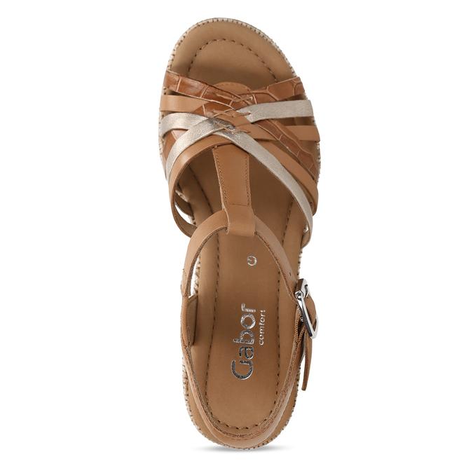 Hnědé dámské kožené sandály na podpatku gabor, hnědá, 666-0600 - 17