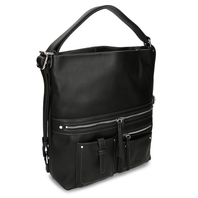 Černá dámská kabelka přeměnitelná na batoh gabor, černá, 961-6645 - 13