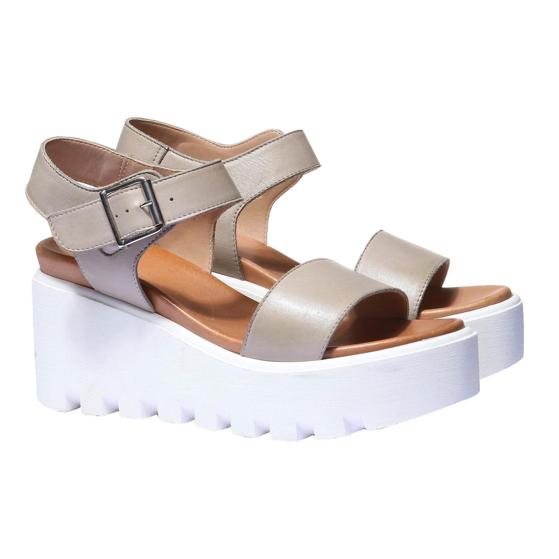 Trendy sandály na flatformě bata, béžová, 2019-764-2274 - 26