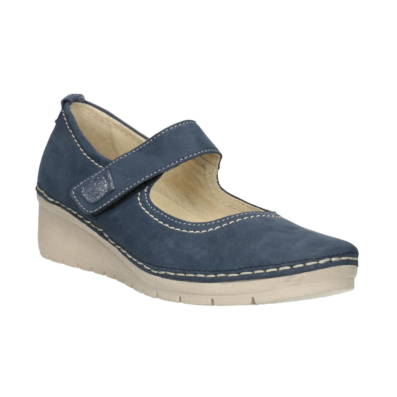 Baťa Kožené baleríny na klínovém podpatku - Všechny boty  2c97095a3c