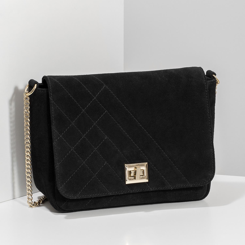 52c17f9cb6 Baťa Kožená černá Crossbody kabelka s prošitím - Kožené kabelky ...