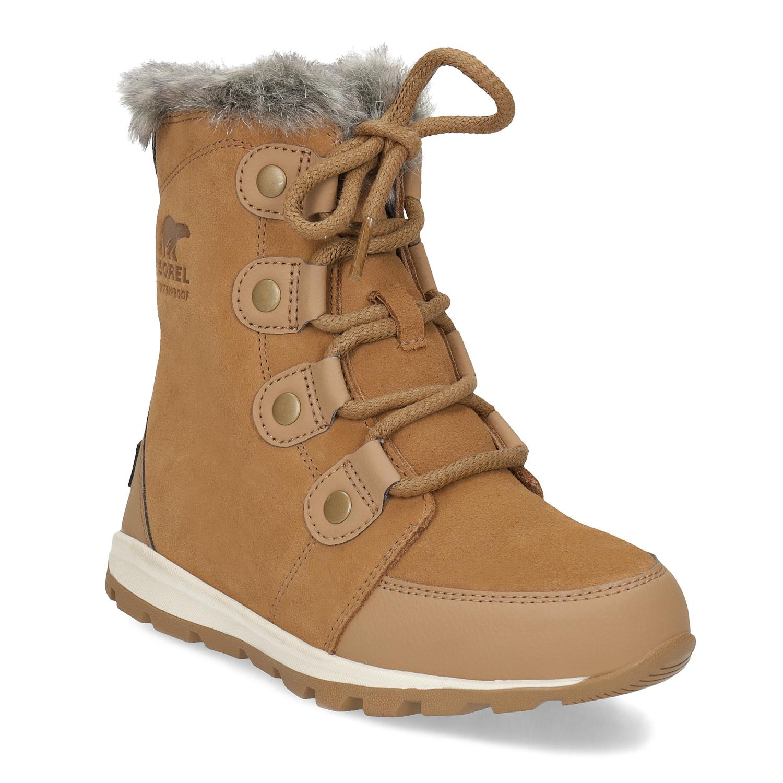 f3175e3a501 Sorel Kožená dětská zimní obuv s kožíškem - Děti